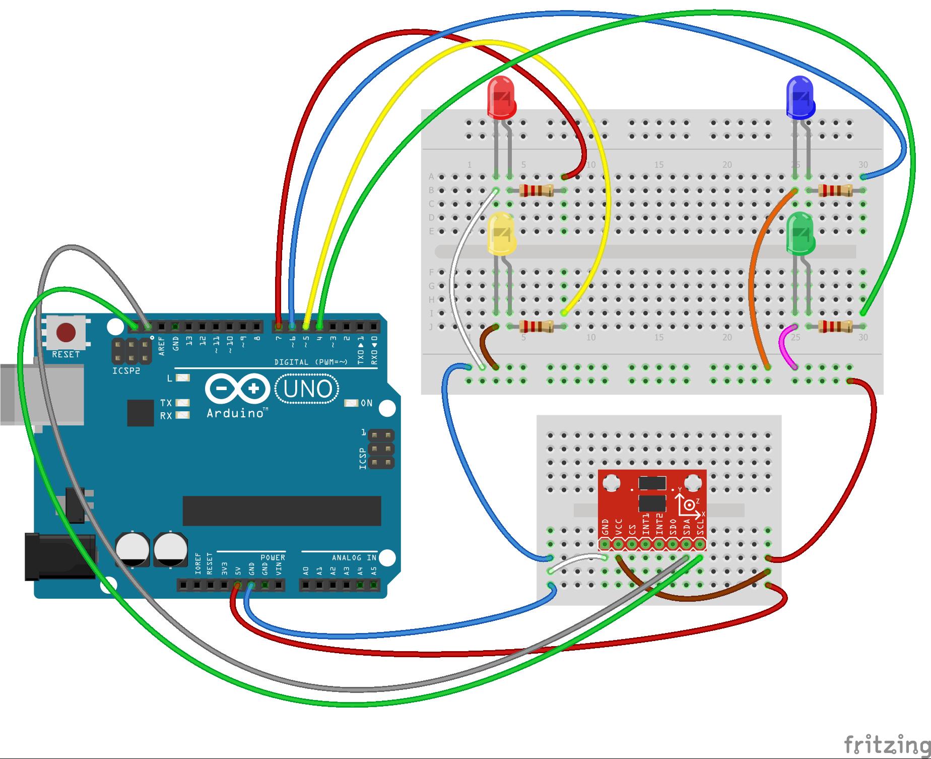 Arduino ADXL345 İvme Ölçer ile LED Yakmak